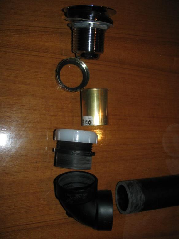Left Basin Drain Components Close Up