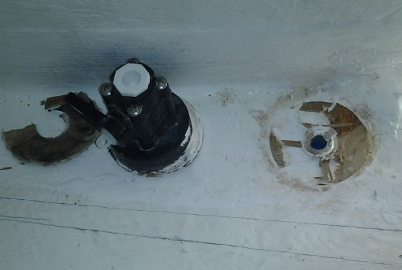 Thru-hull removed exposing hole in hull.